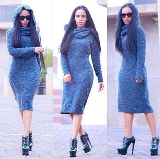 dress hooded dress bodycon dress oversized sweater