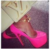 shoes,high heels,pink,jewels,gold,ankle bracelet,bow,cute,pumps,trendy,louis vuitton