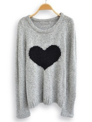 Light Grey Love Heart Long Sleeve Sweater from Showmall on Storenvy