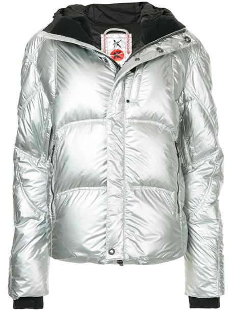 jacket hooded jacket women grey metallic