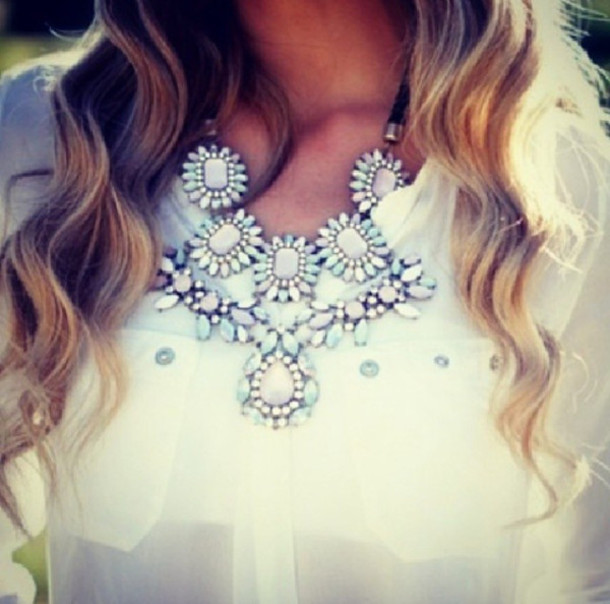 jewels jewelry watercolor turquoise jewelry turquoise purple white strass accessories necklace blouse white blouse clothes
