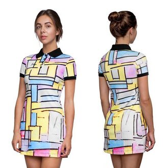 dress polo dress collared dress short dress mini dress girl fusion colorful teenagers hipster pastel dress geometric violet cute collar clothes