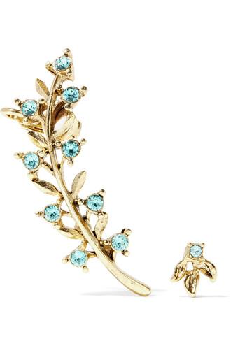 crystal earrings earrings gold blue jewels