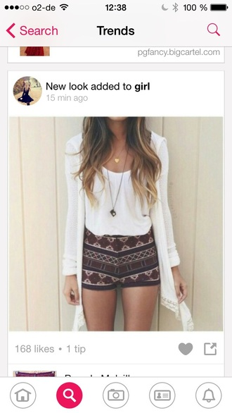 t-shirt shorts pants home accessory necklace aztec shorts cardigan gloves cute summer outfit tumblr outfit short bordeau motif azteque