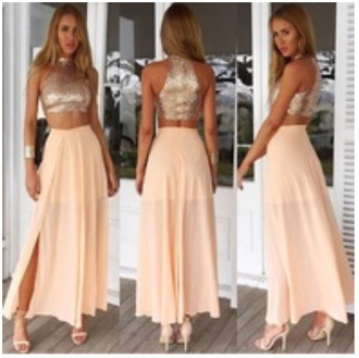 dress gold sequins shiny two piece dress set cuff bracelet prom high waisted skirt slit maxi skirt nude sandals crop tops chiffon skirt blush pink