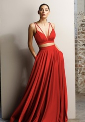 dress,red,prom dress,red prom dress,floor length dress,two piece dress set,red dress,ball gown dress