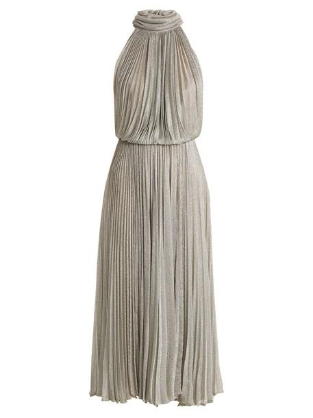 Maria Lucia Hohan dress mesh dress pleated mesh silver