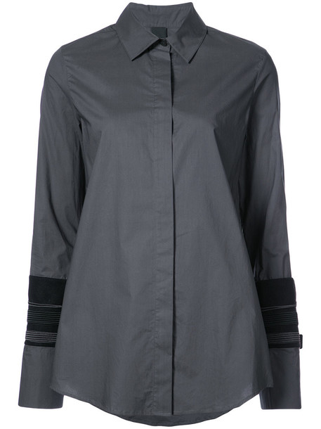 Vera Wang shirt women layered cotton wool grey top