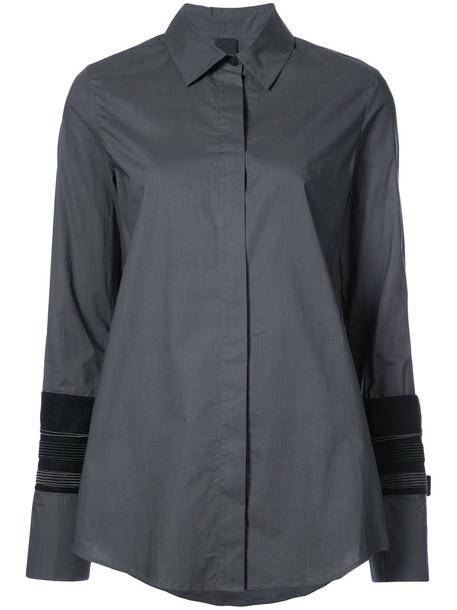 shirt women layered cotton wool grey top