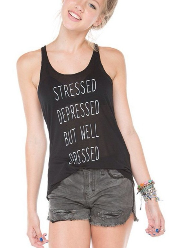 shirt stressed welldressed black white graphic tee