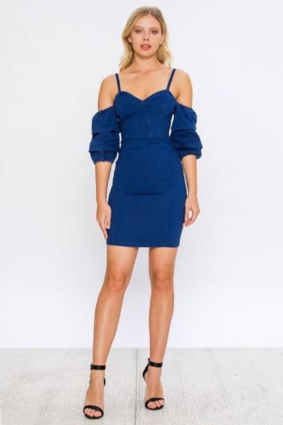 2ede9ac828845 dress the bolder shop off the shoulder cold shoulder denim jeans puff  sleeves bodycon dress
