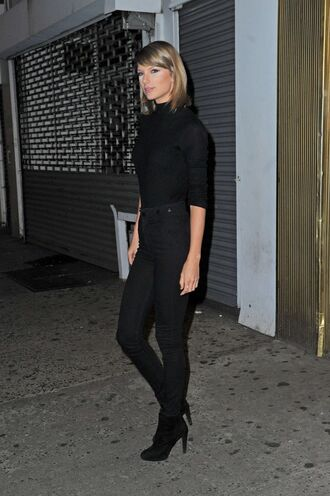 sweater turtleneck taylor swift all black everything denim boots top fall outfits shoes jeans black turtleneck top