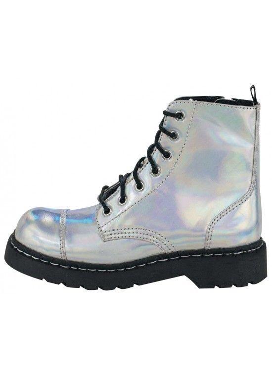 T U K Iridescent Combat Boot T2206 | eBay