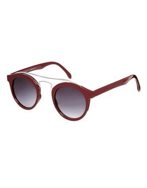 ASOS | ASOS Round Sunglasses With Metal Bridge High Bar at ASOS