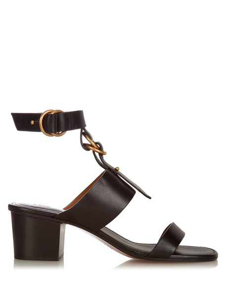 Chloe sandals leather sandals leather black shoes