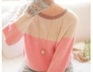 Pink cable sweater with bow and hea..