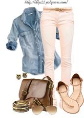 shirt,clothes,jeans,belt,shoes,denim shirt,shirt jewelry,bag shoes,bag,jacket,earrings,sandals,shades,ralph lauren,pastel pink,top