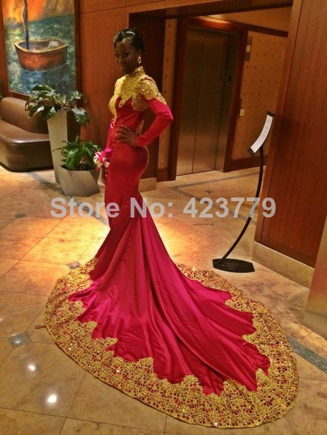 Aliexpress.com : Buy New Arrival 2014 Gold Lace Edge High Neck Mermaid Prom Dresses With Long Sleeve Fuchsia Arabic Kaftan Dress from Reliable lace dress white suppliers on 27 Dress