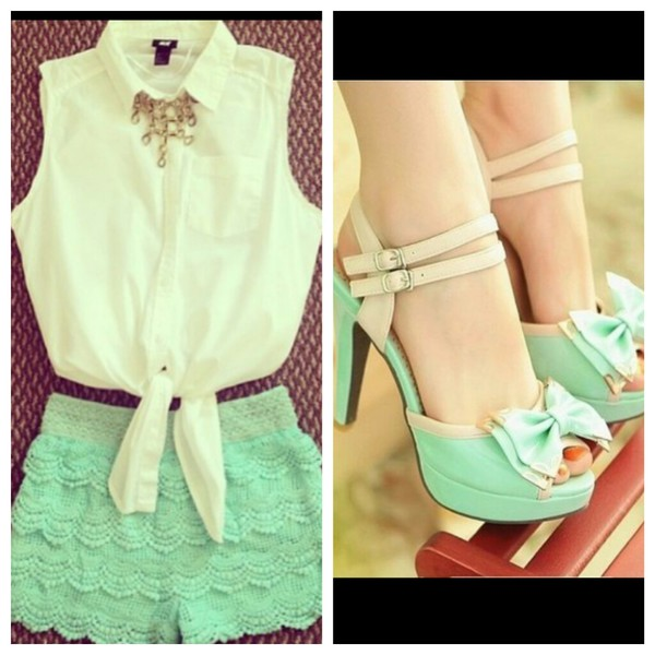 blouse shorts shoes pastel mint