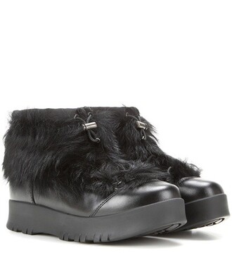leather ankle boots fur boots ankle boots leather black shoes