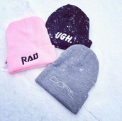 hat,beanie,winter outfits,winter swag,dope wishlist,pink,pink beanie,black beanie,grey beanie,rad,rad beanie,ugh beanie,dope,dope beanie,girly,urban pastel pink,bag