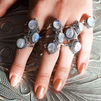 jewels shop dixi gypsy boho bohemian hippie grunge jewelry jewelery moonstone rings ring statement ring