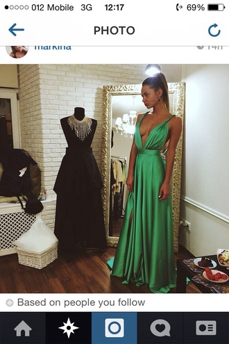 dress prom dress maxi dress long prom dress silk dress satin dress slit dress prom gown jewels green prom dress