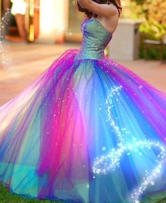 dress multicolor princess cool cute pinky blue party colorful disney princess cute dress party dress rainbow pink blue purple green dress beautiful red dress yellow pastel shiny style