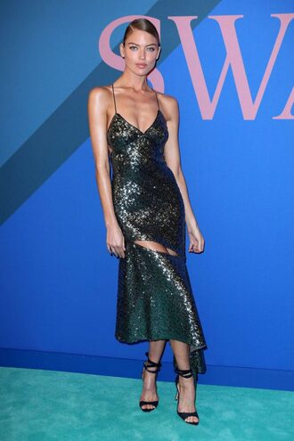 dress martha hunt model black dress asymmetrical sequins sequin dress sandals sandal heels cfda