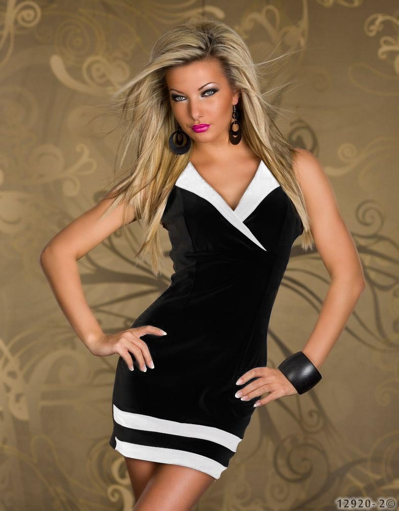 2014 New Fashion Women Sexy Elegant Black and White Sailor Collar Party Costume Bodycon Dress Mini Dress N097 | Amazing Shoes UK