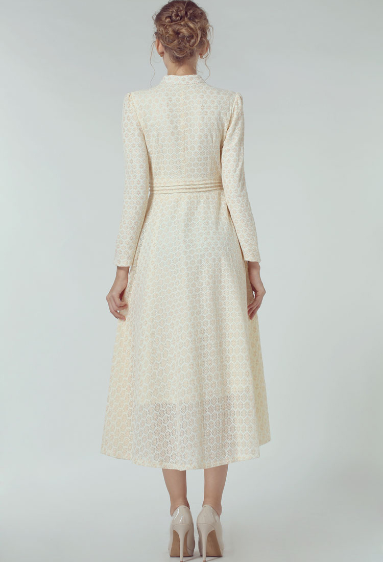 Light yellow stand collar long sleeve lace dress
