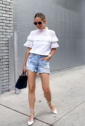 top,tumblr,white top,eyelet top,eyelet detail,shorts,denim,denim shorts,shoes,flats,bag,sunglasses