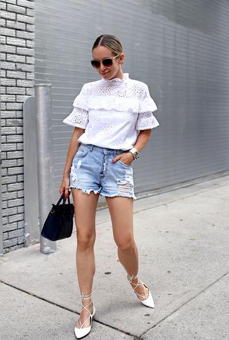 top tumblr white top eyelet top eyelet detail shorts denim denim shorts shoes flats bag sunglasses