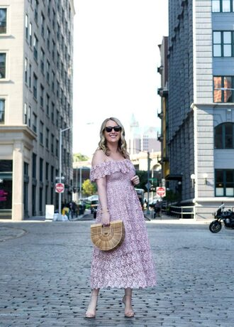 wit&whimsy blogger dress shoes bag sunglasses jewels midi dress off the shoulder dress summer outfits