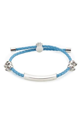 skull leather blue jewels