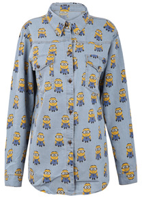 Light Blue Overlay Minion Print Curved Hem Denim Blouse - Sheinside.com