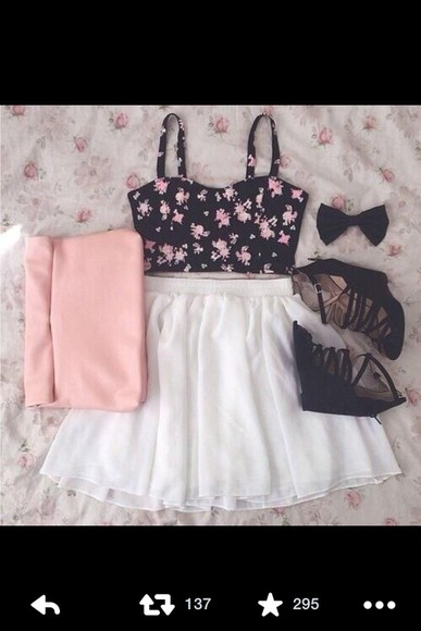 skirt cute blouse clothes white skirt high heels bag shoes floral top crop top bustier
