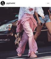 shoes,Reebok,gigi hadid,gigi hadid style,pink,pink shoes,sneakers,tennis shoes,pastel pink sneakers,pastel pink,millennial pink,hadid sisters,mytheresa