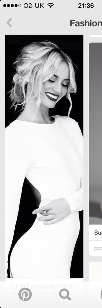 dress bodycon dress white dress cut-out dress long sleeves style fashion