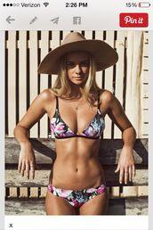 swimwear,bikini,cute,hot,colorful,spots,pretty,flowers,black,bikini top,bikini bottoms,floral,blue,red,purple,bathing suit top,bathing suit bottoms,floral bikini,pink,beach,triangle,white
