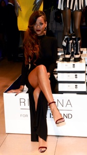 dress,rihanna,celebrity style,slit dress,little black dress