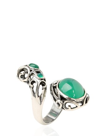 ring silver green jewels