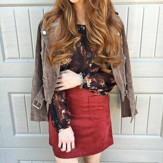 skirt tumblr red skirt mini skirt fall skirt fall outfits blouse printed top jacket brown jacket suede jacket fall colors