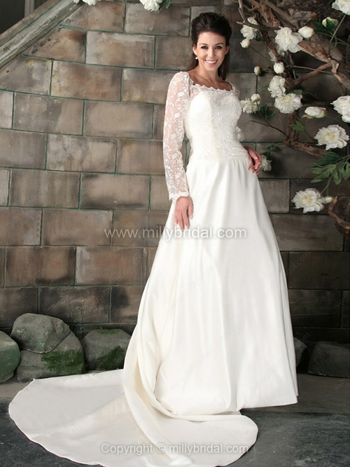 A-line Square Satin Lace Court Train Beading Wedding Dresses - www.millybridal.org