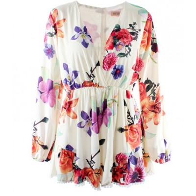 Woman floral print deep v neck long