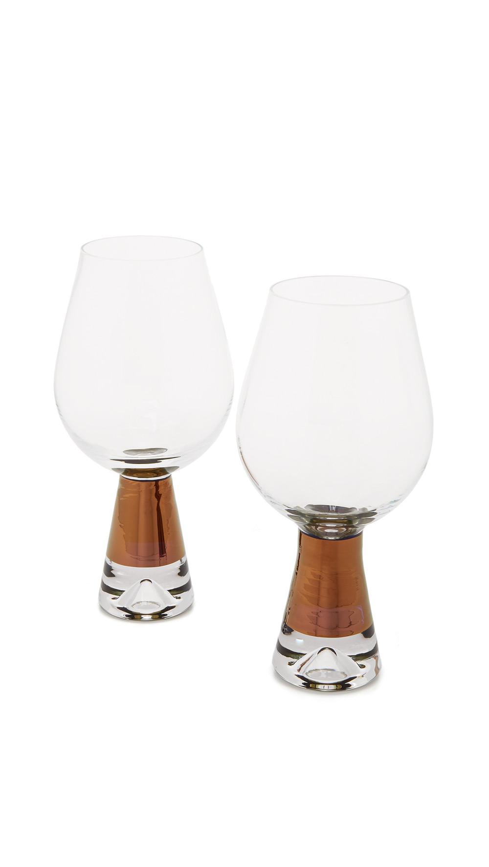Tom Dixon Tank Wine Glasses Set in copper / clear