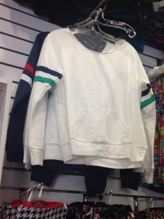 sweater white back stripes minimalist 90s style