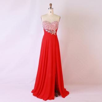 evening dress chiffon long evening dress red bridesmaid dress prom dress dress