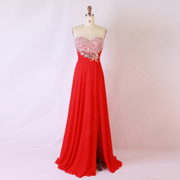 prom dress evening dress chiffon long evening dress red bridesmaid dress