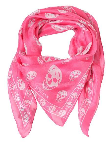 Alexander Mcqueen skull chiffon scarf print silk blue pink sky blue